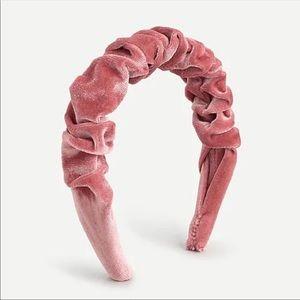 NWT J Crew Velvet Scrunch Headband Pink